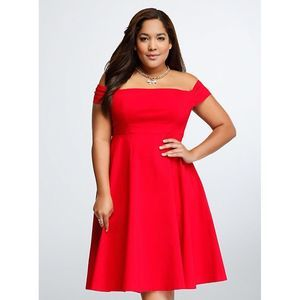 NWT Torrid Off-the-Shoulder Swing Dress Red 18